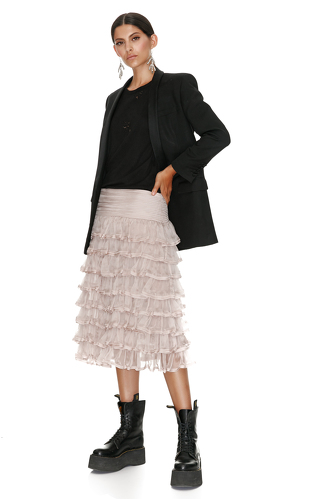 Ruffled Beige Silk Skirt - PNK Casual