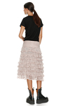 Ruffled Beige Silk Skirt