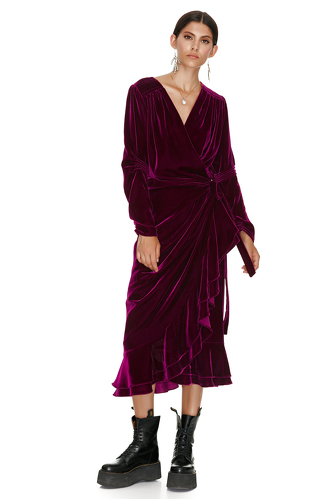 Fuchsia Velvet Wrap Midi Dress - PNK Casual