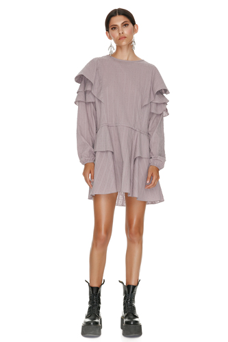 Mauve Cotton Dress With Ruffles - PNK Casual