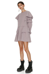 Mauve Cotton Dress With Ruffles