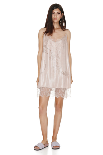 Rose Metallic Silk Dress With Chantilly Insertions. - PNK Casual