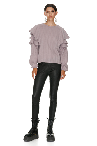 Mauve Cotton Blouse With Ruffles - PNK Casual