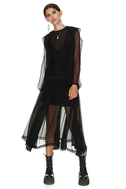 Black Silk Midi Dress With Cotton Lace Insertions