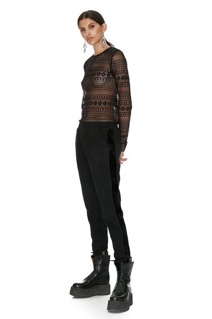 Black Cotton Pants With Velvet Side