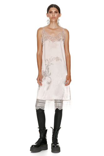 Rose Metallic Silk Midi Dress With Chantilly Insertions. - PNK Casual