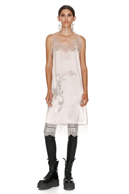Rose Metallic Silk Midi Dress With Chantilly Insertions.