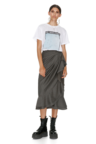 Checkered Wrap Midi Skirt - PNK Casual