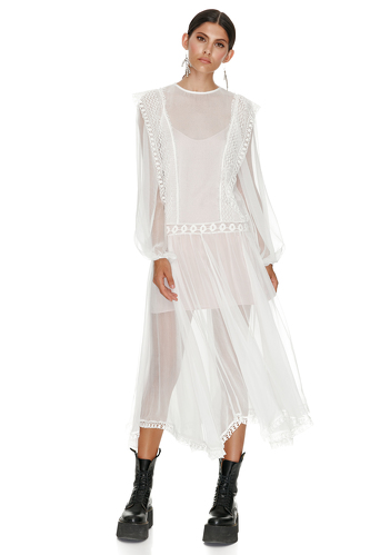 White Silk Midi Dress With Cotton Lace Insertions - PNK Casual