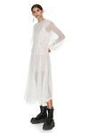 White Silk Midi Dress With Cotton Lace Insertions