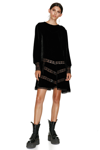 Black Velvet Dress With Lace Insertions - PNK Casual