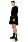 Black Velvet Dress With Lace Insertions