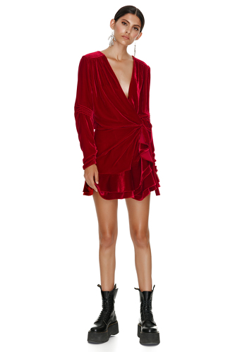 Red Velvet Wrap Mini Dress - PNK Casual