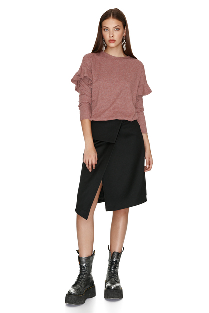 Light Rose Blouse With Ruffled Sleeve Detail