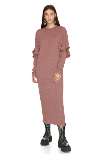 Light Rose Dress With Ruffled Sleeve Detail - PNK Casual