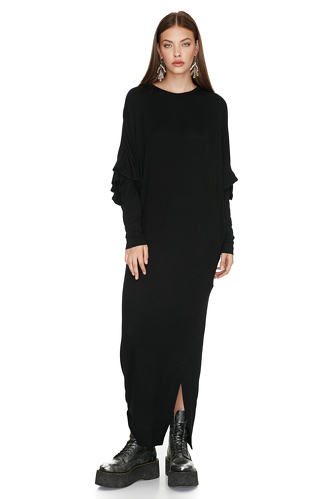 Black Dress With Ruffled Sleeve Detail - PNK Casual
