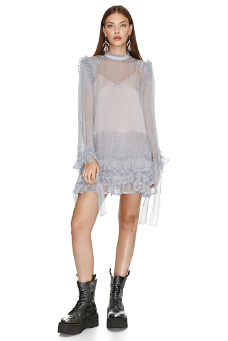 Ruffled Grey Silk Dress - PNK Casual