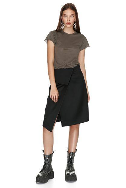 Kaki Cotton Basic T-shirt