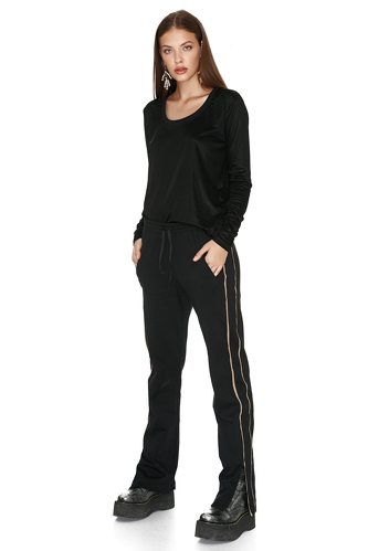 Black Track Pants With Silk Side Detail - PNK Casual