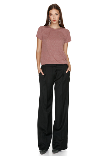 Black Wide-Leg Wool Pants - PNK Casual