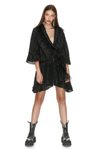 Black Sequin Mini Dress With Feathers - PNK Casual