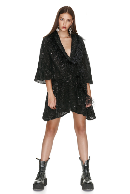 Black Sequin Mini Dress With Feathers