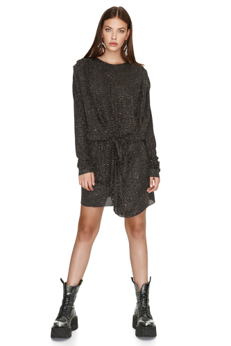 Black Elastic Glitter Mini Dress - PNK Casual