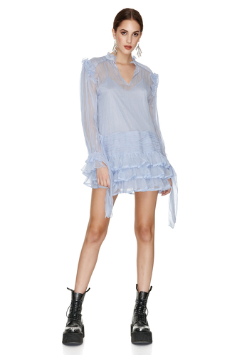 Ruffled Blue Silk Dress - PNK Casual