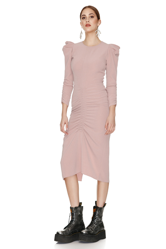 Slimming Effect Pink Midi Dress - PNK Casual