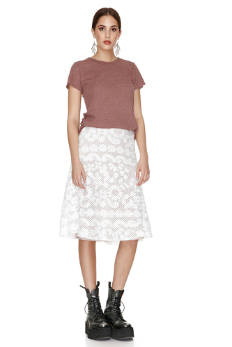White Crocheted Floral Lace Midi Skirt - PNK Casual