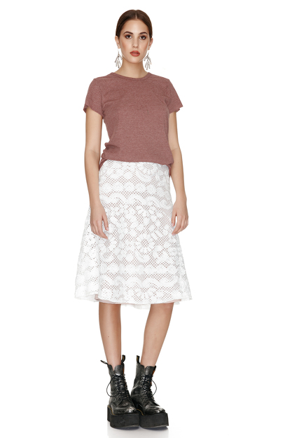 White Crocheted Floral Lace Midi Skirt