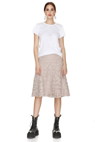 Beige Crocheted Floral Lace Midi Skirt - PNK Casual