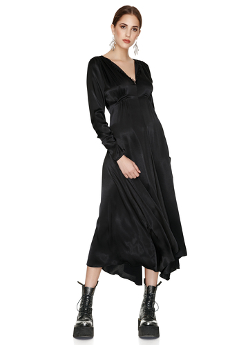 Black Mid-Length Fluid Dress - PNK Casual