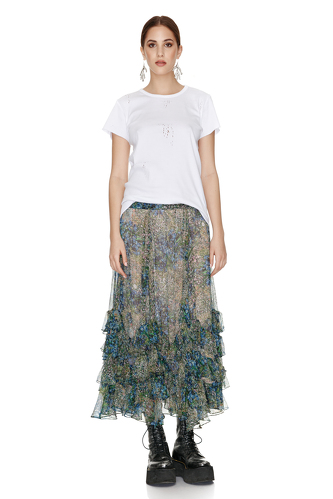 Printed Silk Chiffon Midi Skirt - PNK Casual