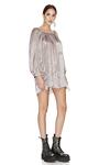 Rose Silk Metallic Mini Dress