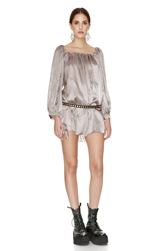 Rose Silk Metallic Mini Dress - PNK Casual
