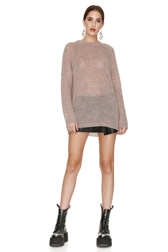 Beige Oversized Wool And Mohair Sweater - PNK Casual