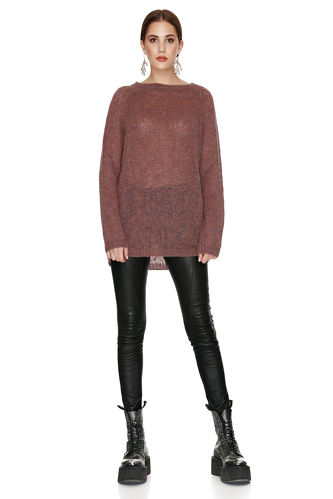 Burgundy Oversized Wool And Mohair Sweater - PNK Casual