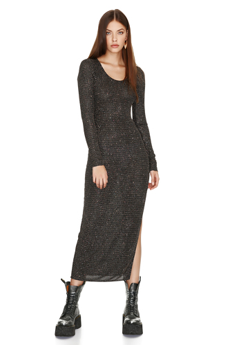 Black Elastic Glitter Midi Dress - PNK Casual