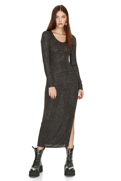 Black Elastic Glitter Midi Dress