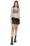 Black Leather Skirt with Feathers