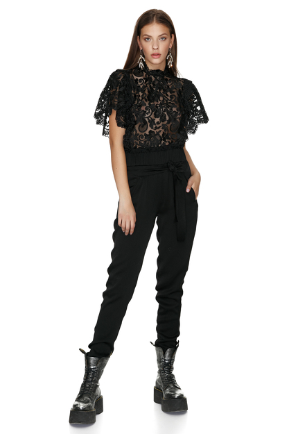 Black Lace Blouse With Oversize Sleeves