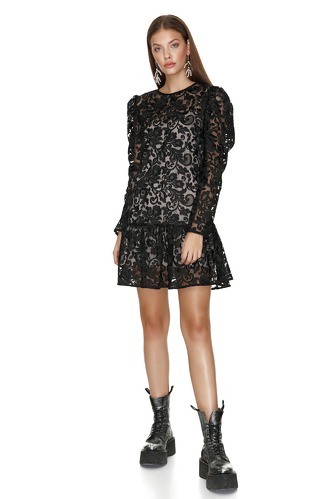 Black Lace Mini Dress With Ruffled Hem - PNK Casual