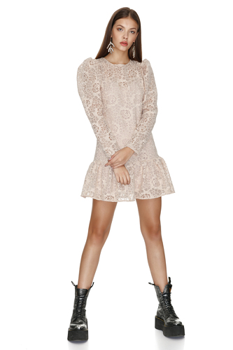 Beige Lace Mini Dress With Ruffled Hem - PNK Casual