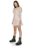 Beige Lace Mini Dress With Ruffled Hem