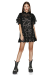Black Lace Mini Dress With Oversize Sleeves