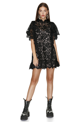 Black Lace Mini Dress With Oversize Sleeves - PNK Casual