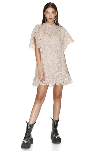Beige Lace Mini Dress With Oversize Sleeves - PNK Casual