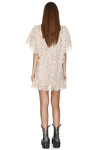 Beige Lace Mini Dress With Oversize Sleeves