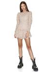 Beige Crochet Lace Mini Dress